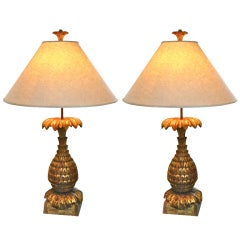 Pair of Beautifully Carved and Gilded Italian Lamps