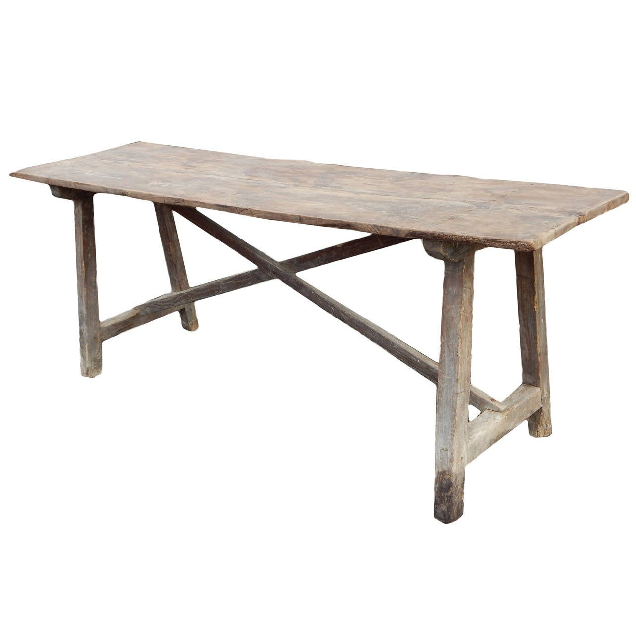 French Farmhouse Trestle Table at 1stdibs