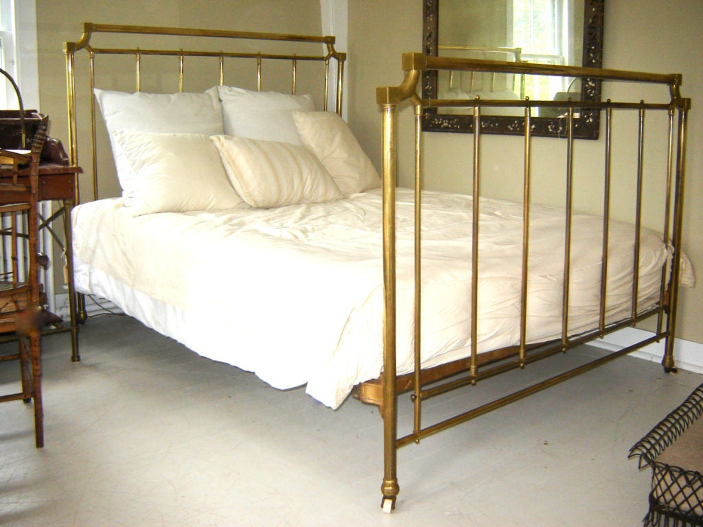Queen Sized Brass Bed At 1stdibs