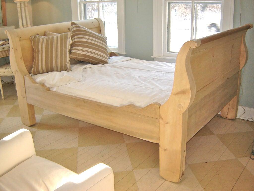 pine sleigh bed frame
