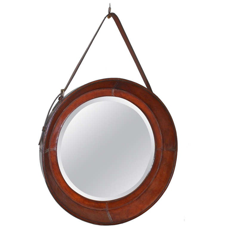 Round Beveled Mirror In Leather Frame At 1stdibs