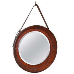 Round  Beveled Mirror in Leather Frame