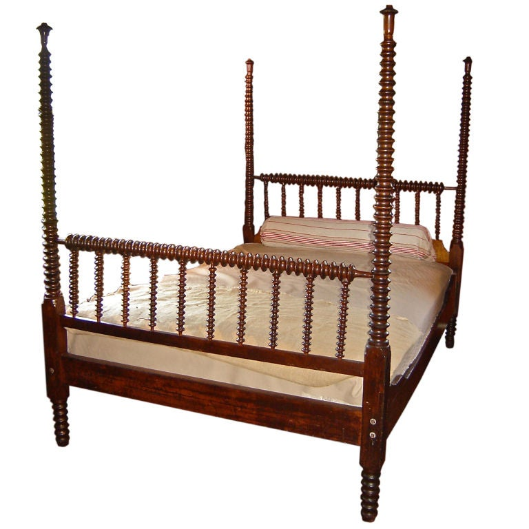 19th Century Four Poster Spindle Bed at 1stdibs