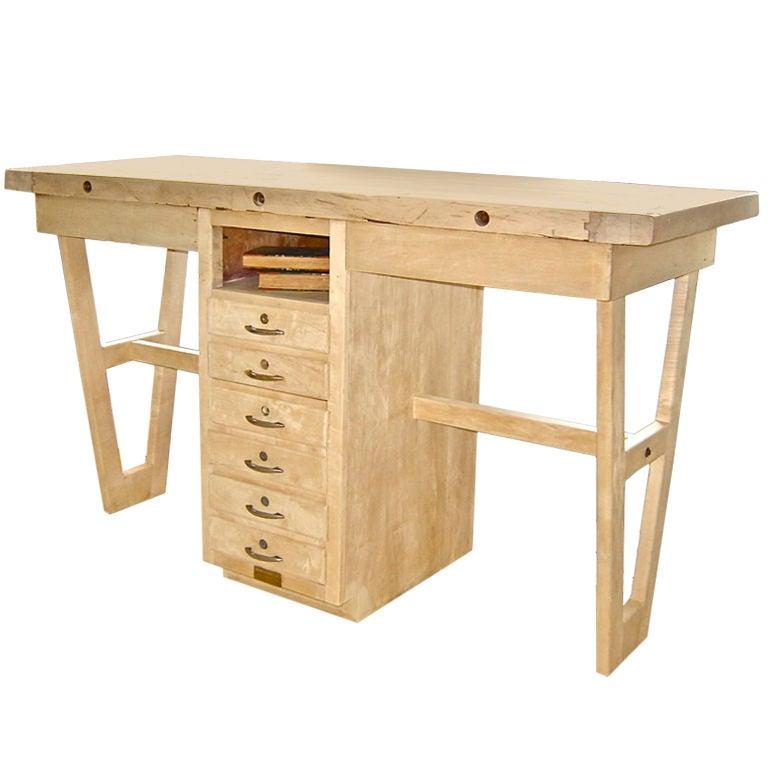 Bleached Kitchen Island Or Desk At 1stdibs