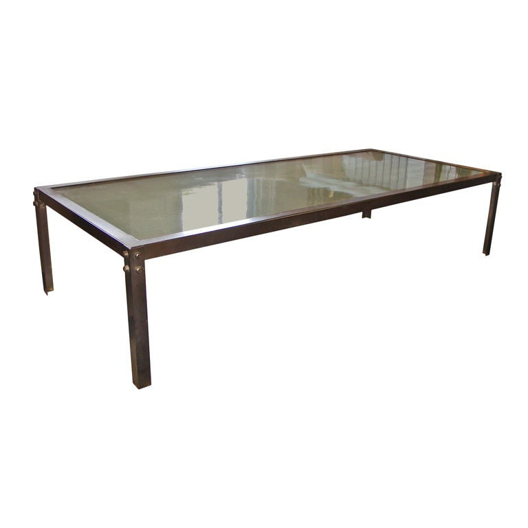 Spectacular Bronze And Cast Glass Coffee Table At 1stdibs