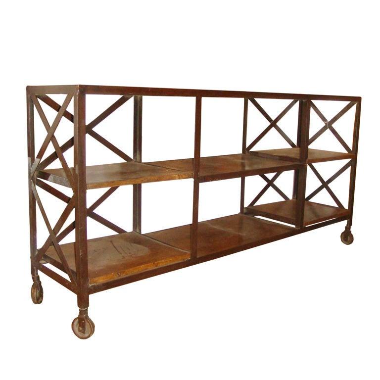 industrial wood and metal shelving at 1stdibs. Black Bedroom Furniture Sets. Home Design Ideas
