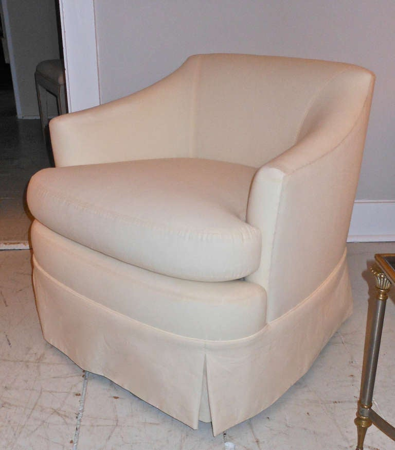 pair of low back swivel chairs at 1stdibs. Black Bedroom Furniture Sets. Home Design Ideas