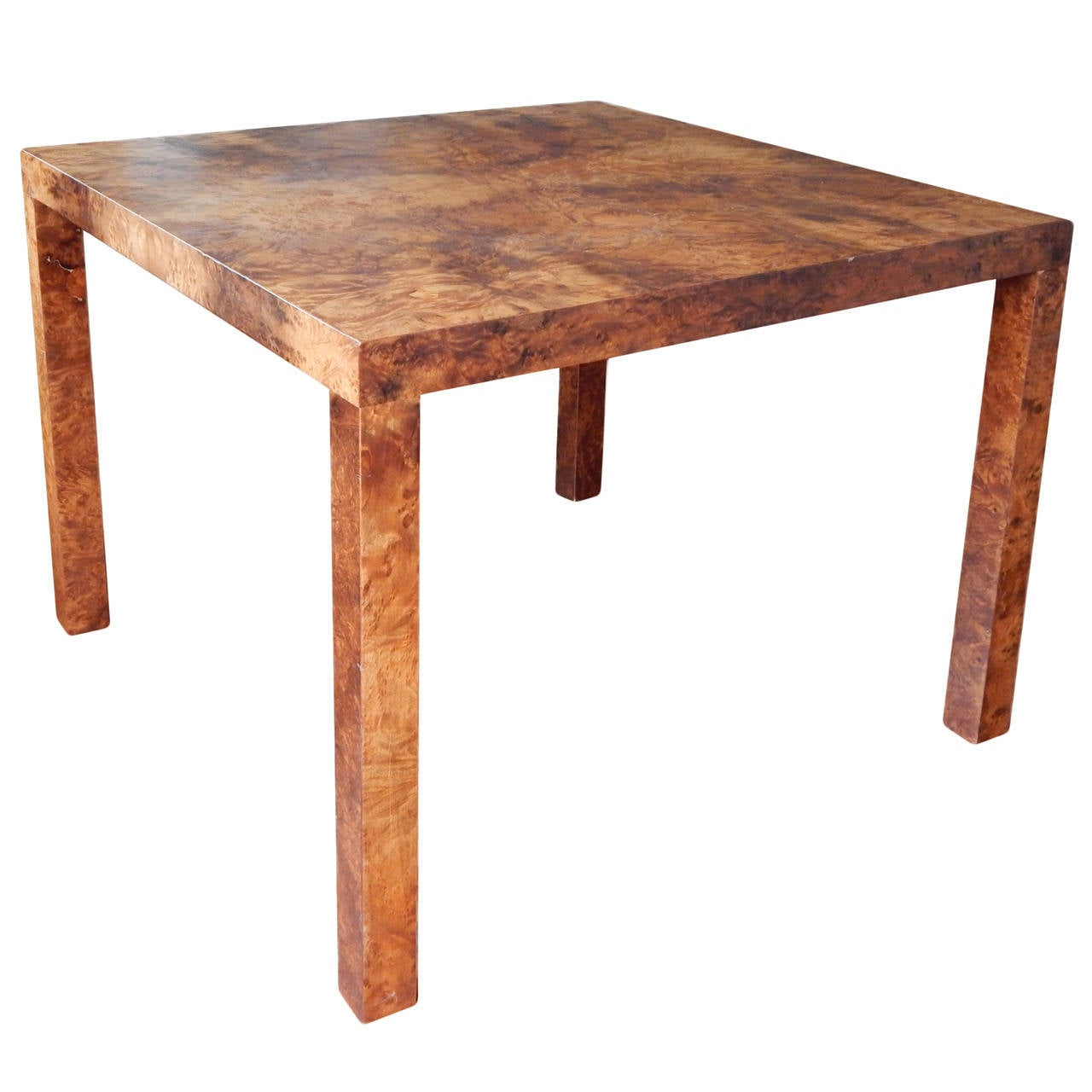 Milo Baughman Style Burled Wood End Table At 1stdibs