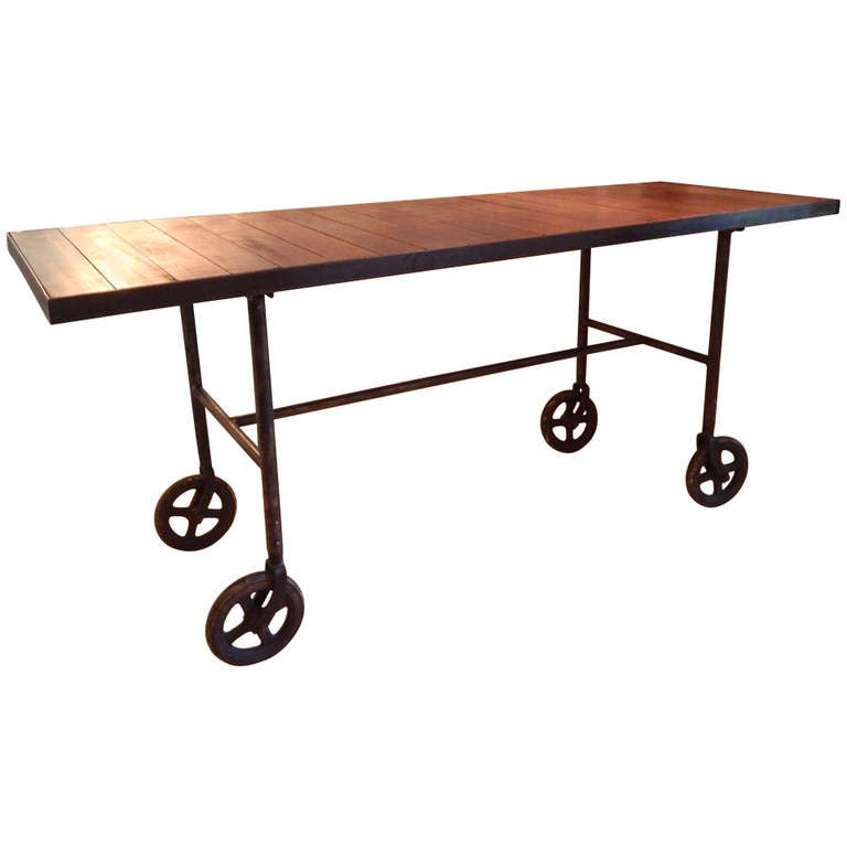 Work table on wheels at 1stdibs for Furniture work table