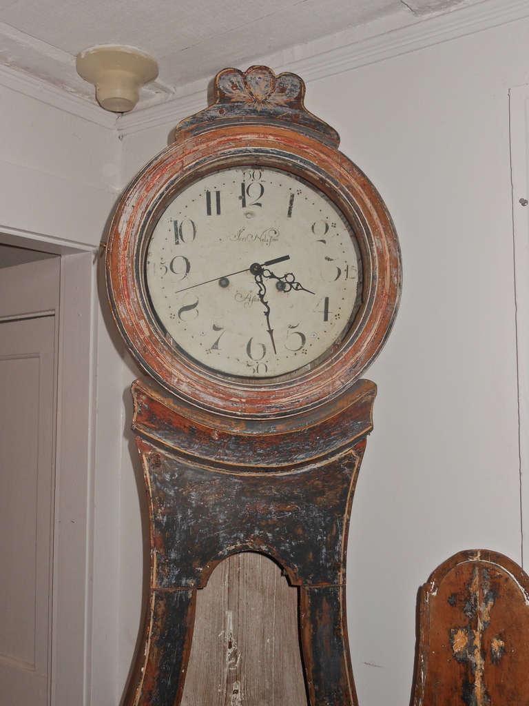 Swedish Mora Clock With Original Paint Decoration For Sale At 1stdibs