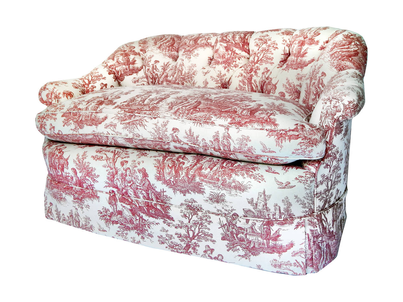 pair of tufted toile loveseats at 1stdibs 87990