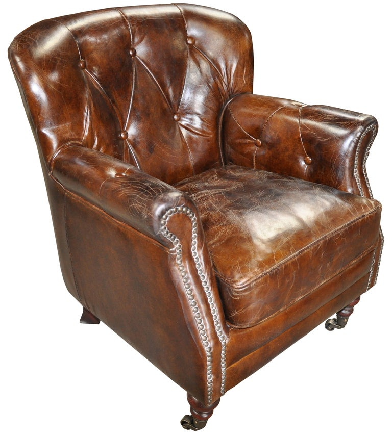 Tufted Leather Comfy Chair At 1stdibs