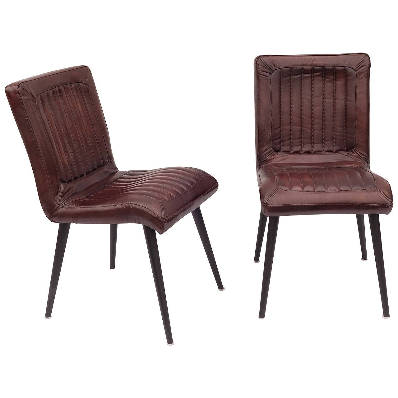 Leather upholstered dining chairs for sale at 1stdibs for Leather kitchen chairs for sale