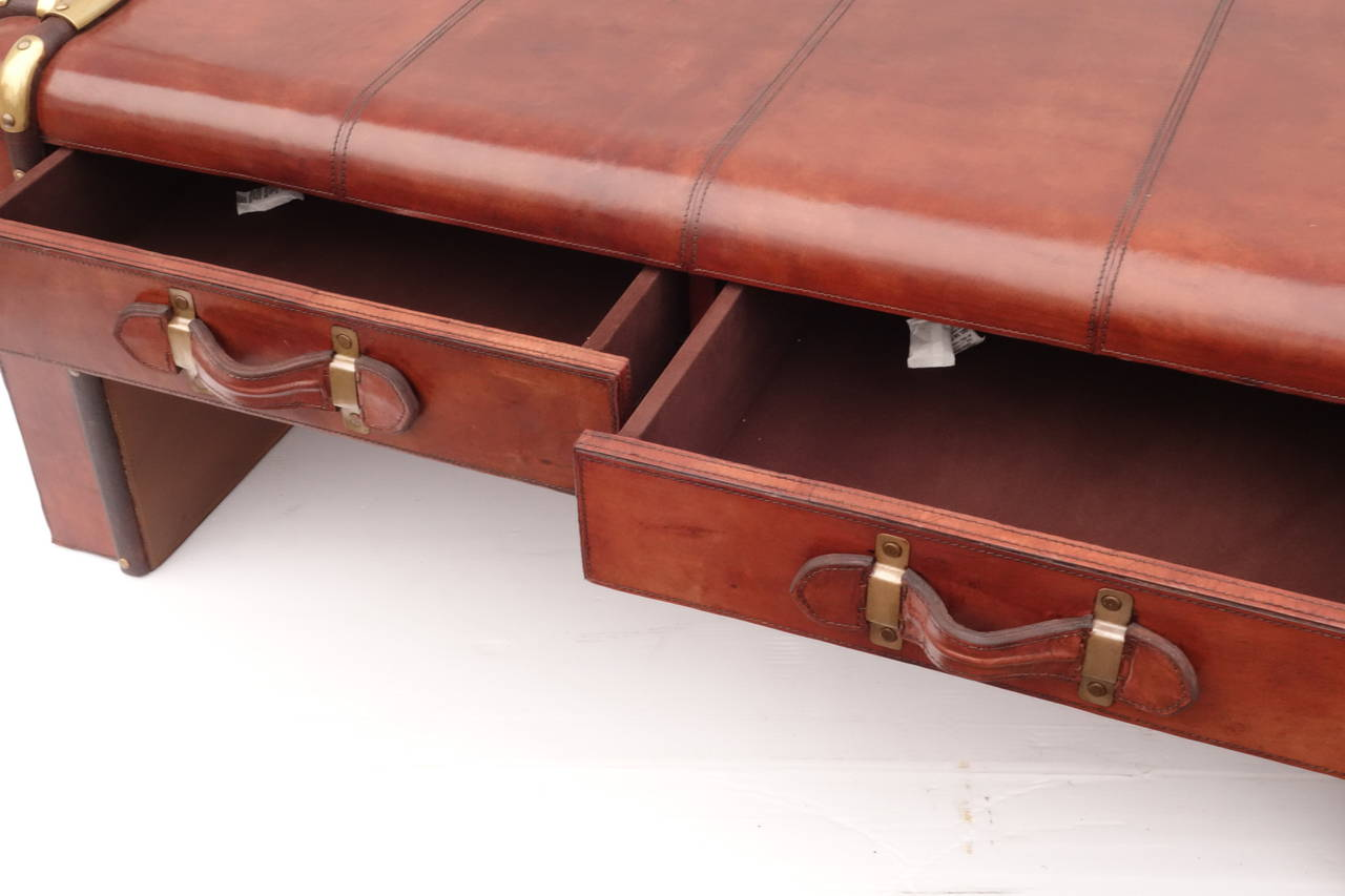 Leather Trunk Coffee Table For Sale At 1stdibs