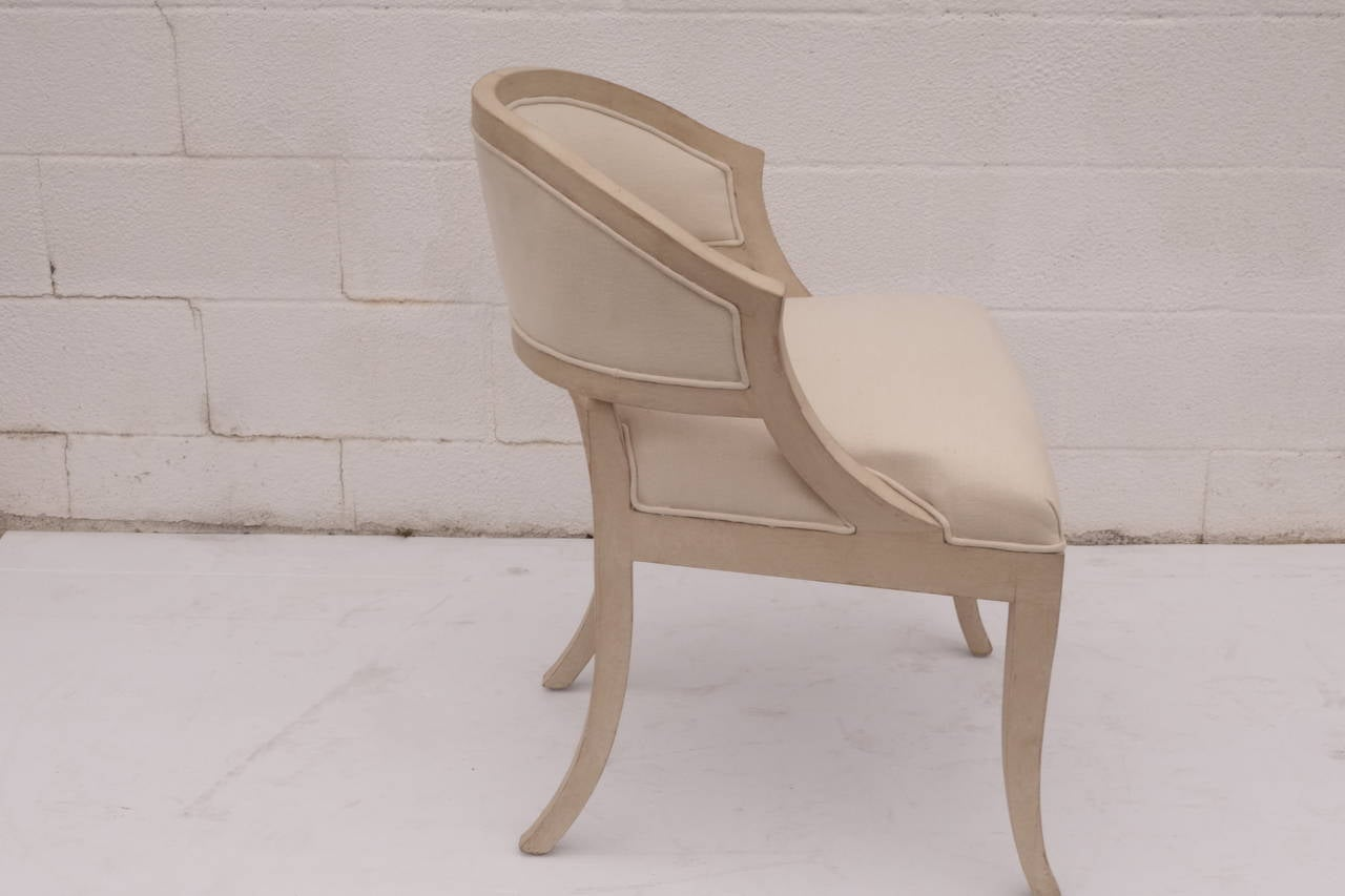 Linen Dining Chair For Sale at 1stdibs