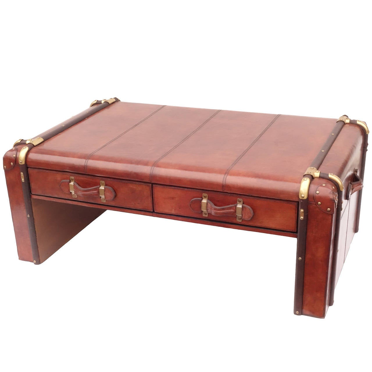 Leather trunk coffee table at 1stdibs Coffee table with leather top