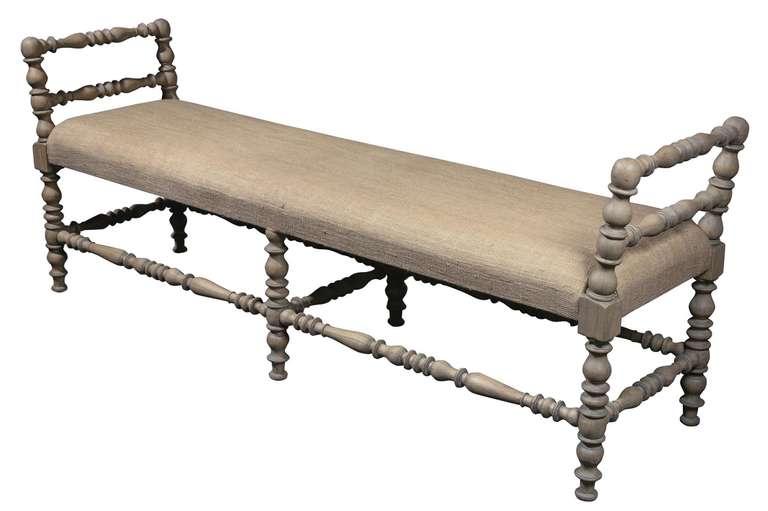 Burlap Upholstered Bench At 1stdibs