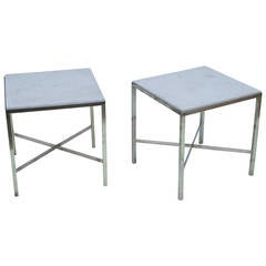 Pair of Brass and Marble Tables