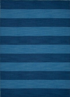 Navy and Blue Striped Rug