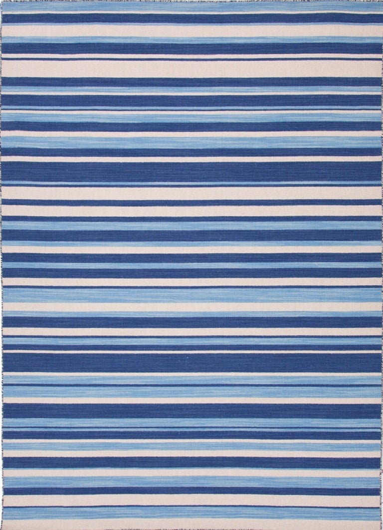 Navy Blue And White Striped Rug For Sale At 1stdibs