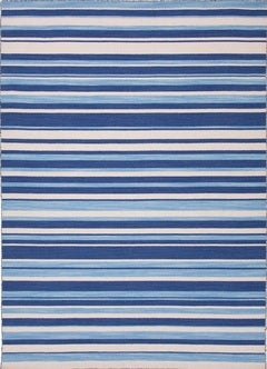 Navy, Blue, and White Striped Rug