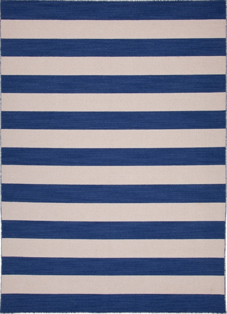 Navy and White Striped Rug 1. Navy and White Striped Rug For Sale at 1stdibs