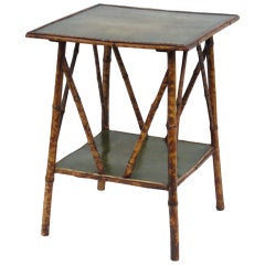 Bamboo Side Table with Green Leather