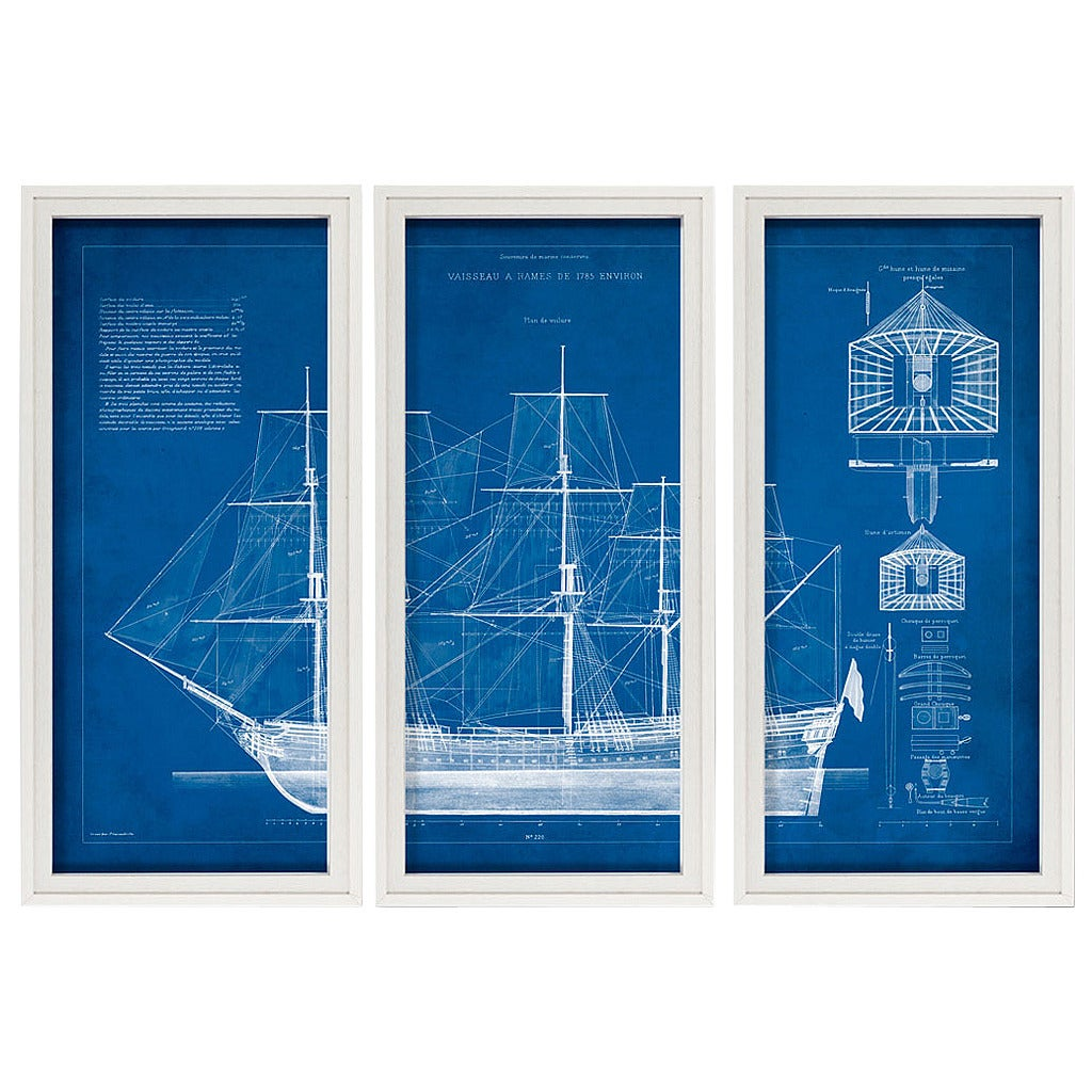 1785 ship blueprint triptych for sale at 1stdibs 1785 ship blueprint triptych for sale malvernweather Gallery