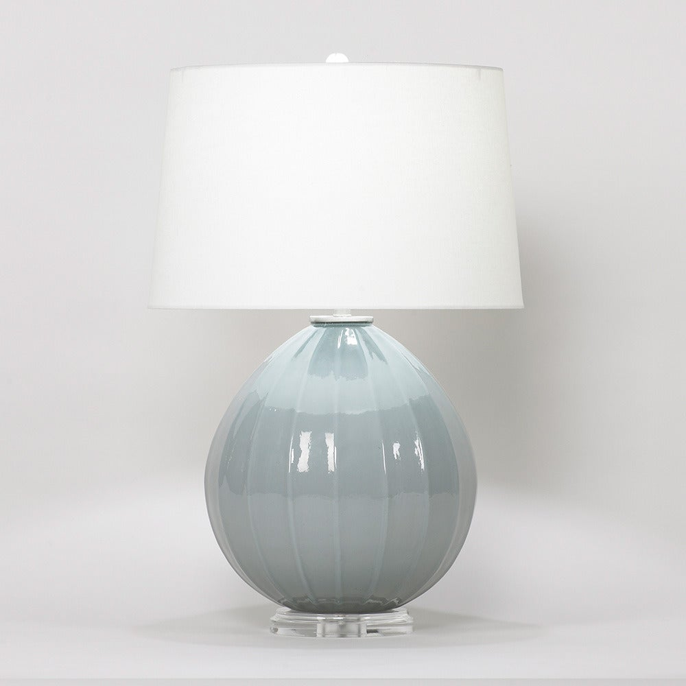 blue hand blown glass table lamp for sale at 1stdibs. Black Bedroom Furniture Sets. Home Design Ideas