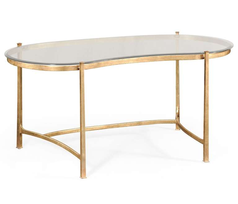 Gold and glass kidney desk for sale at 1stdibs for Kidney desk for sale