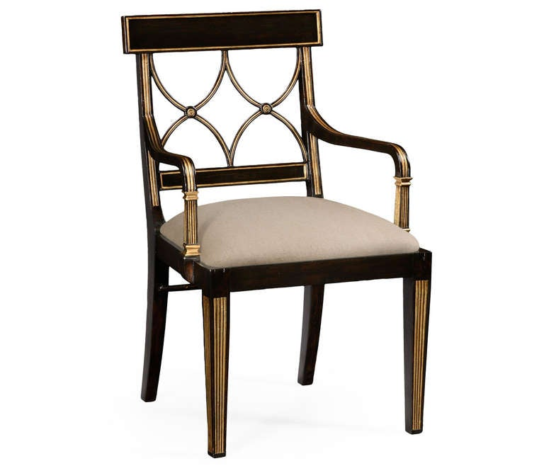black and gold dining chair for sale at 1stdibs. Black Bedroom Furniture Sets. Home Design Ideas