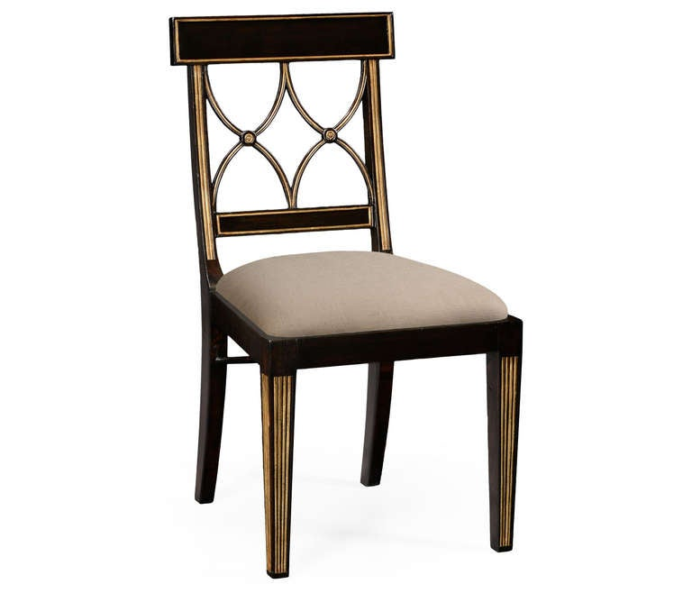 Black and gold dining chair for sale at 1stdibs for Black dining chairs for sale