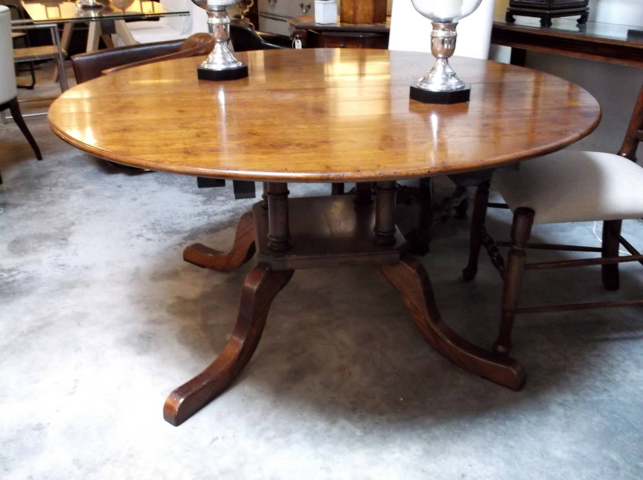 Custom made oak dining table for sale at 1stdibs for Unique kitchen tables for sale