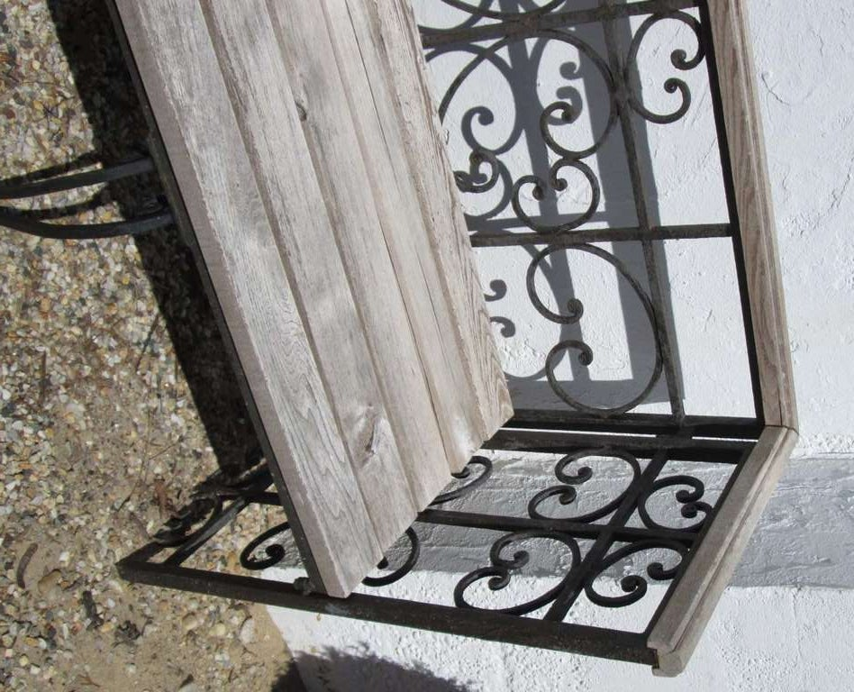 Wood and wrought iron bench at 1stdibs Wrought iron outdoor bench