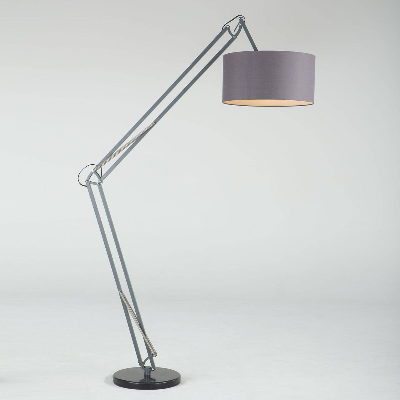grey drum shade floor lamp for sale at 1stdibs. Black Bedroom Furniture Sets. Home Design Ideas