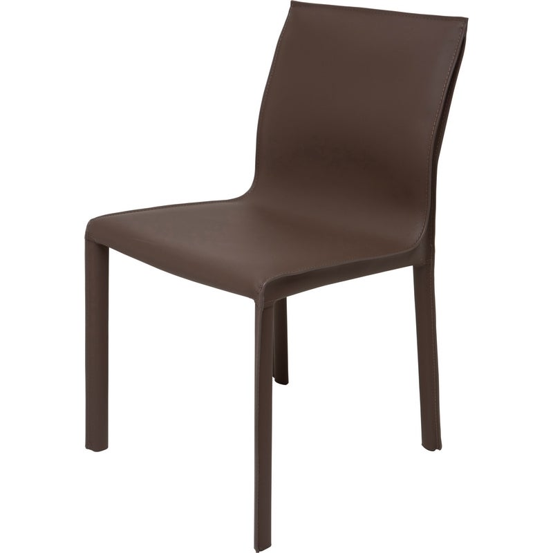 Dining Chairs Set Brown Faux Leather Modern Style Walnut: Brown Faux Leather Modern Dining Chair For Sale At 1stdibs