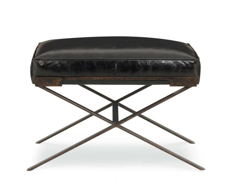 X Base Ottoman In Faux Shagreen Leather