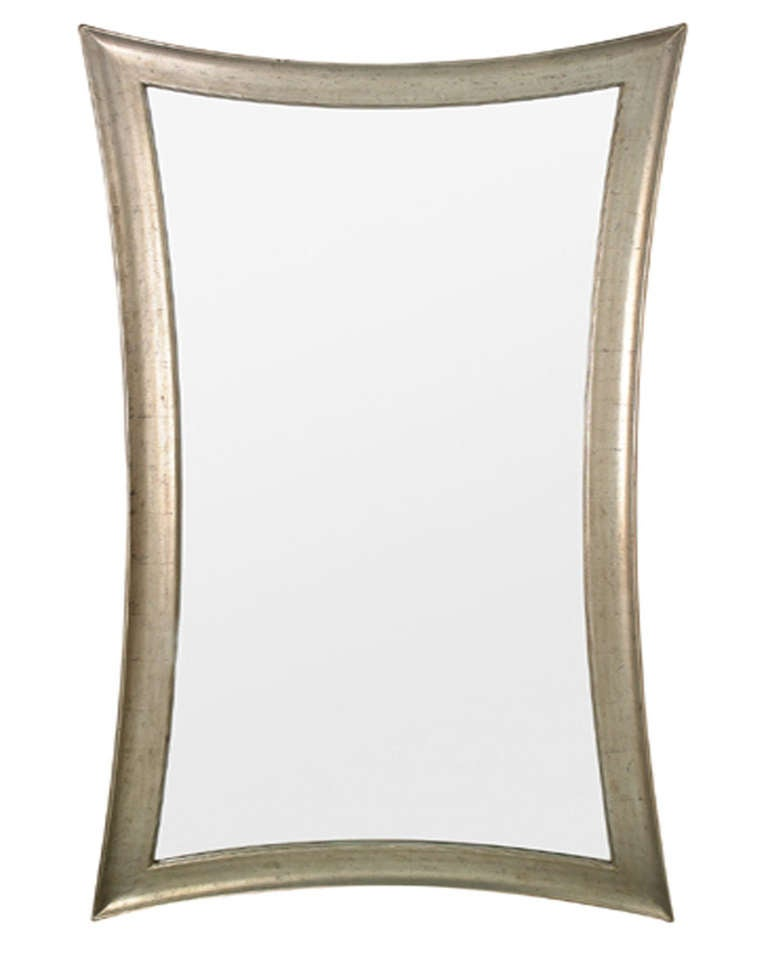 Concave framed mirror at 1stdibs for Full length mirror with mirror frame