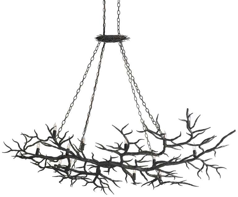 Metal Faux Branch Chandelier For Sale at 1stdibs