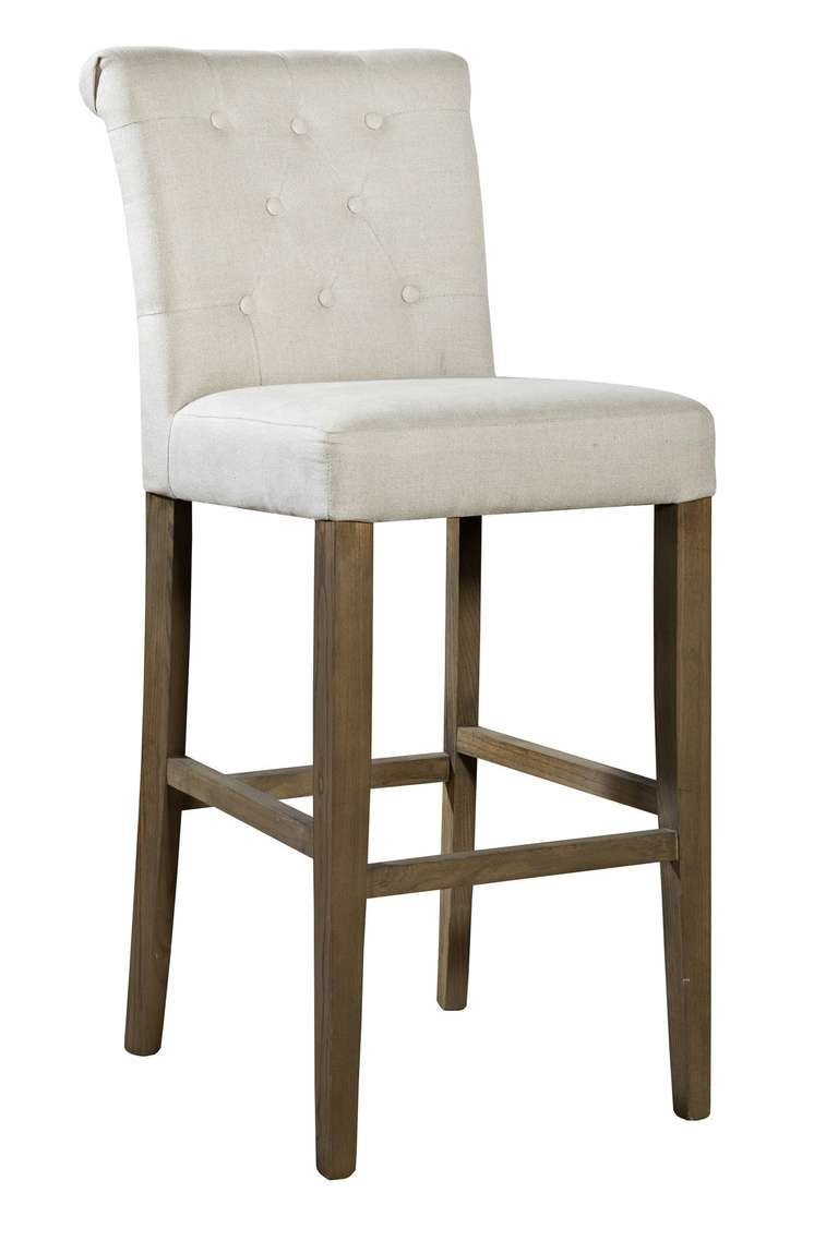 Roll Back Linen Counter Stool For Sale At 1stdibs