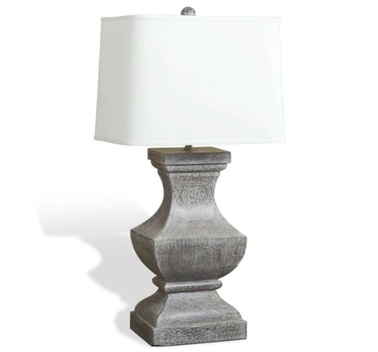 grey wood urn table lamp for sale at 1stdibs. Black Bedroom Furniture Sets. Home Design Ideas