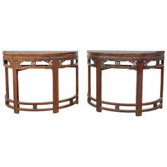 Pair of Chinese Demilune Tables