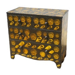 English Chest of Drawers with Decoupage Shell Design