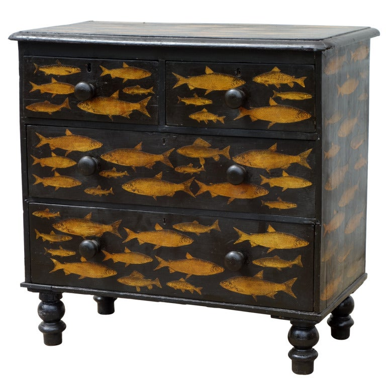 Black Decoupage Chest Of Drawers At 1stdibs