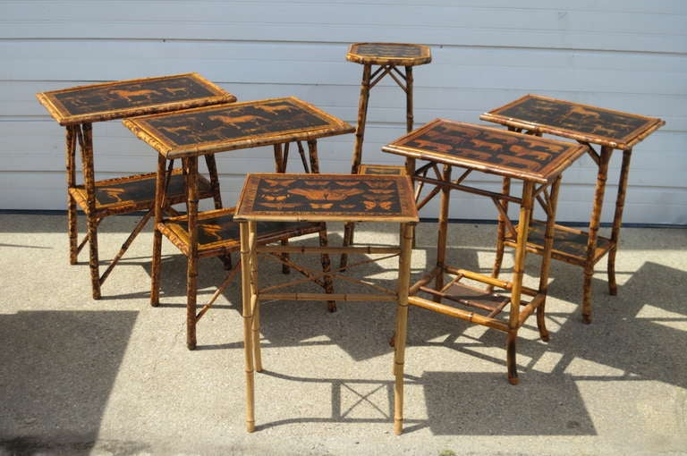 Bamboo Tables With Decoupage Tops For Sale At 1stdibs