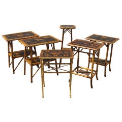 Bamboo Tables With Decoupage Tops