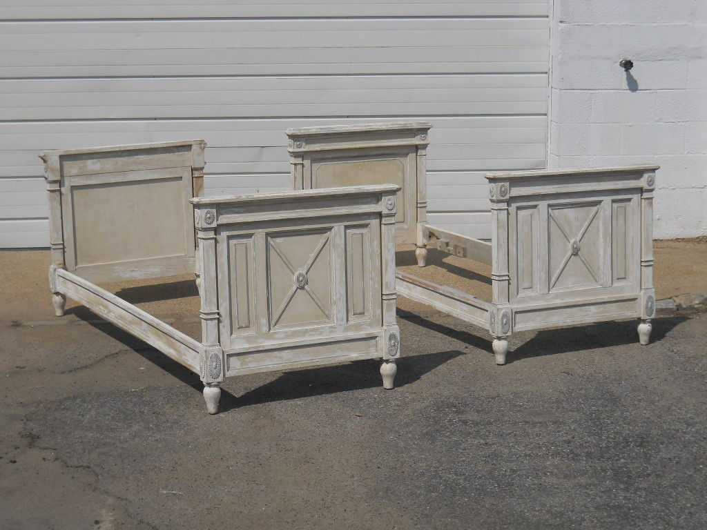 Pair Of Directoire Style Single Beds At 1stdibs