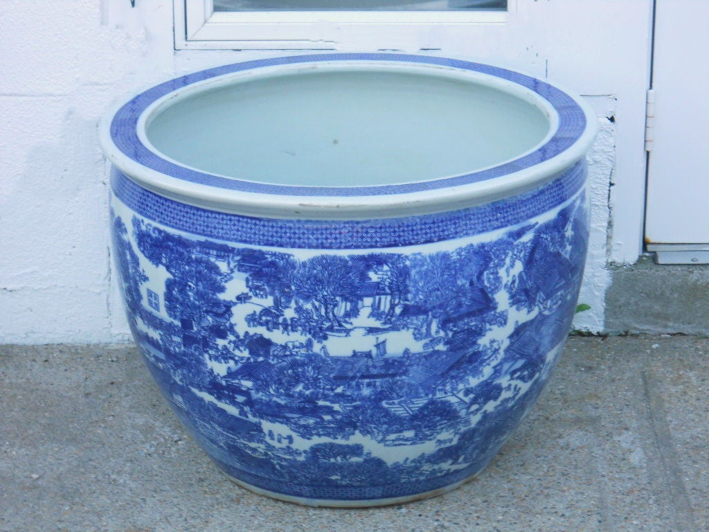 Ceramic Planters For Sale Part - 25: Very Large Blue And White Planter 1