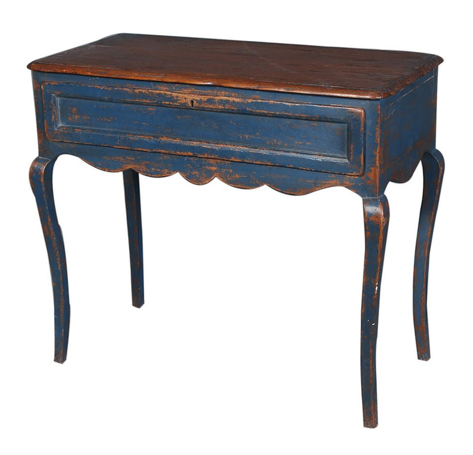 Blue Painted End Table At 1stdibs