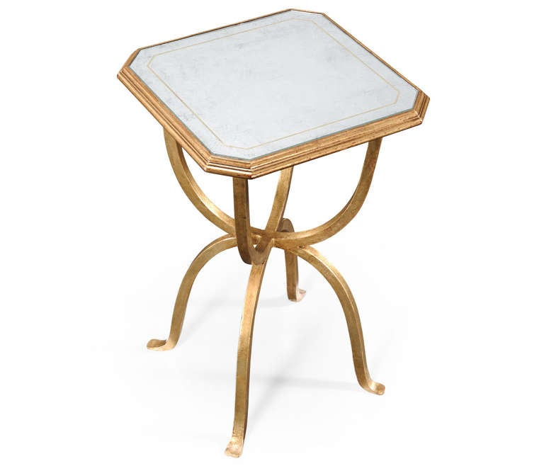 Octagon Side Table ~ Eglomise and iron octagonal side table for sale at stdibs